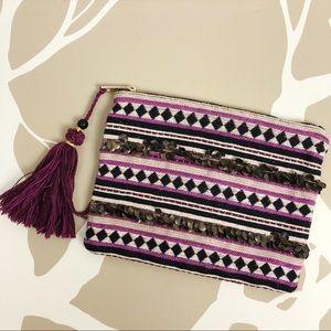 Merona Zip Pouch Embellished Aztec Print